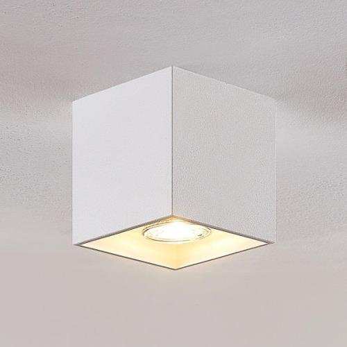 Lindby Parvin aluminium-downlight, kantig, vit