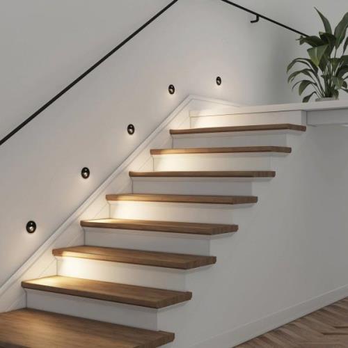 Arcchio Neru LED-inbyggnadslampa, rund svart